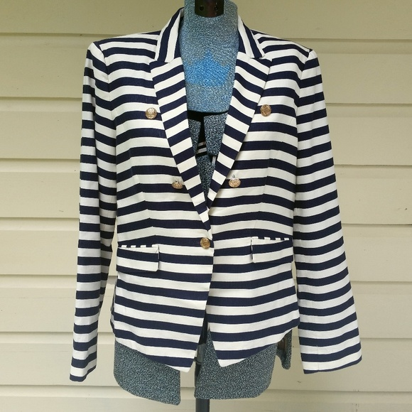 MNG Suit Navy and Cream Striped Blazer